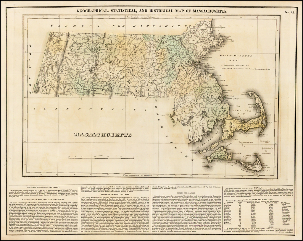 Geographical, Historical and Statistical Map of Massachusetts By Henry Charles Carey  &  Isaac Lea