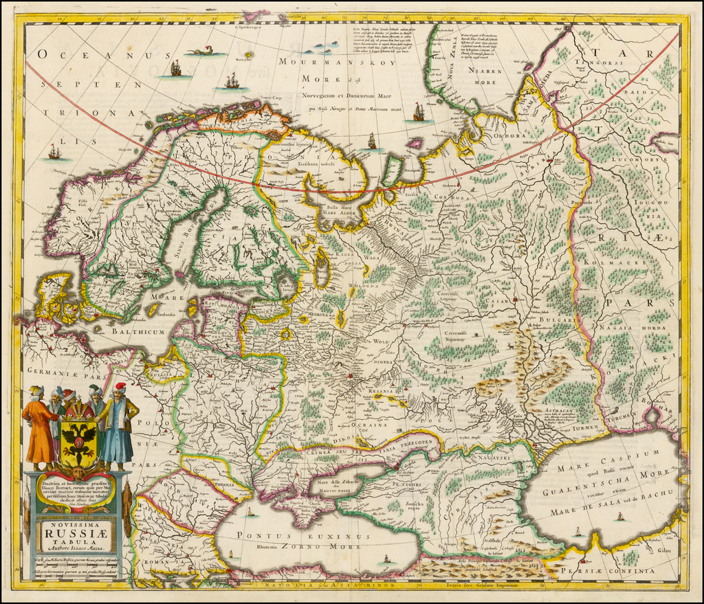 Novissima Russiae Tabula Authore Isaaco Massa   By Henricus Hondius