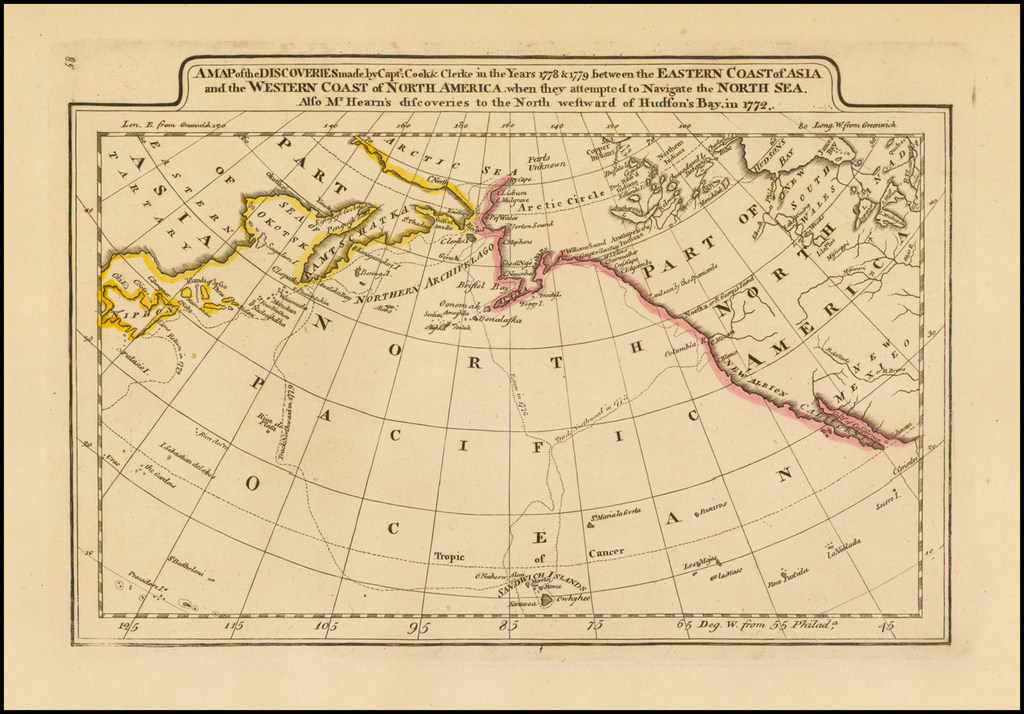 A Map of the Discoveries made by Captn.s Cook & Clerke in the Years 1778 & 1779 between the Eastern Coast of Asia and the Western Coast of North America . . . . Also Mr. Hearn's discoveries to the North westward of Hudson's Bay, in 1772. By Matthew Carey