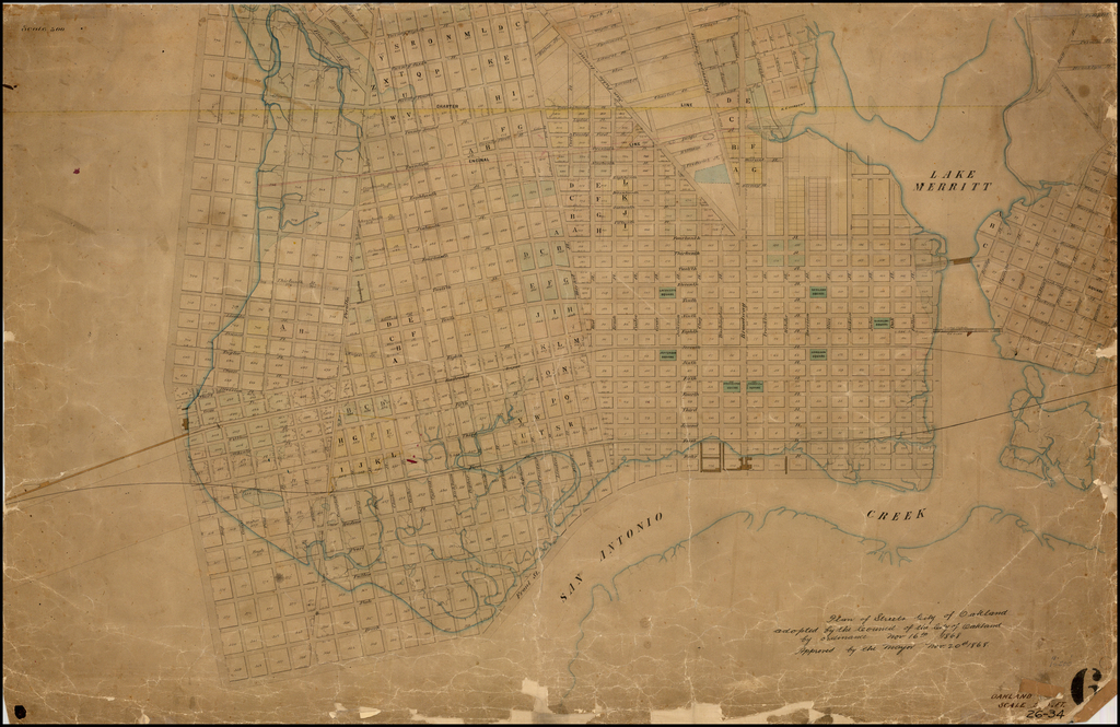 Plan of the Streets  City of Oakland adopted by the Council of the City of Oakland by  Ordinance Nov. 16th 1868.  Approved by the Mayor Nov. 20th 1868. (Manuscript Plan) By William F. Boardman
