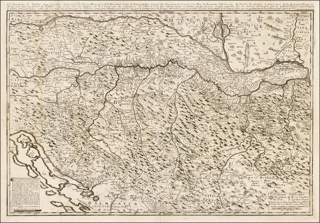 Le Royaume de Bosnie, dans son entier, dedie a son Exellence Monseigr. le feld Marechal Comte de Khewenhüller.. By Etienne Briffaut