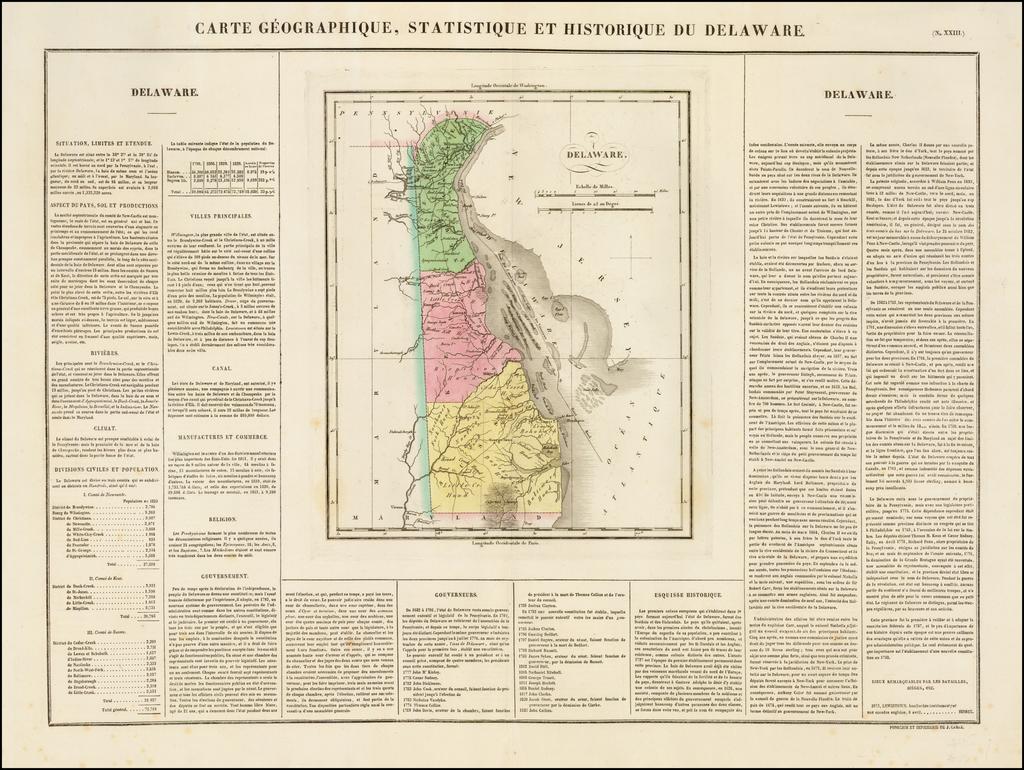 Carte Geographique, Statistique et Historique Du Delaware By Jean Alexandre Buchon