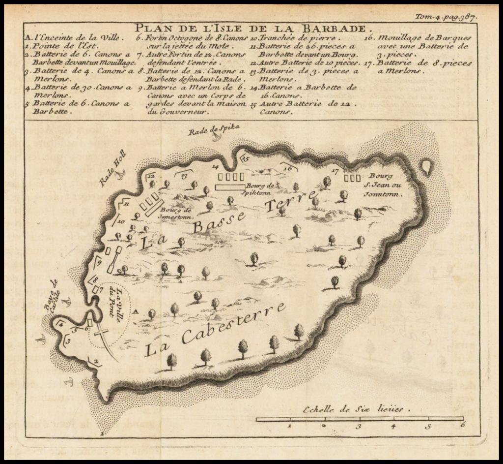 Plan De L'Isle De La Barbade By J. B.  Sorniquet