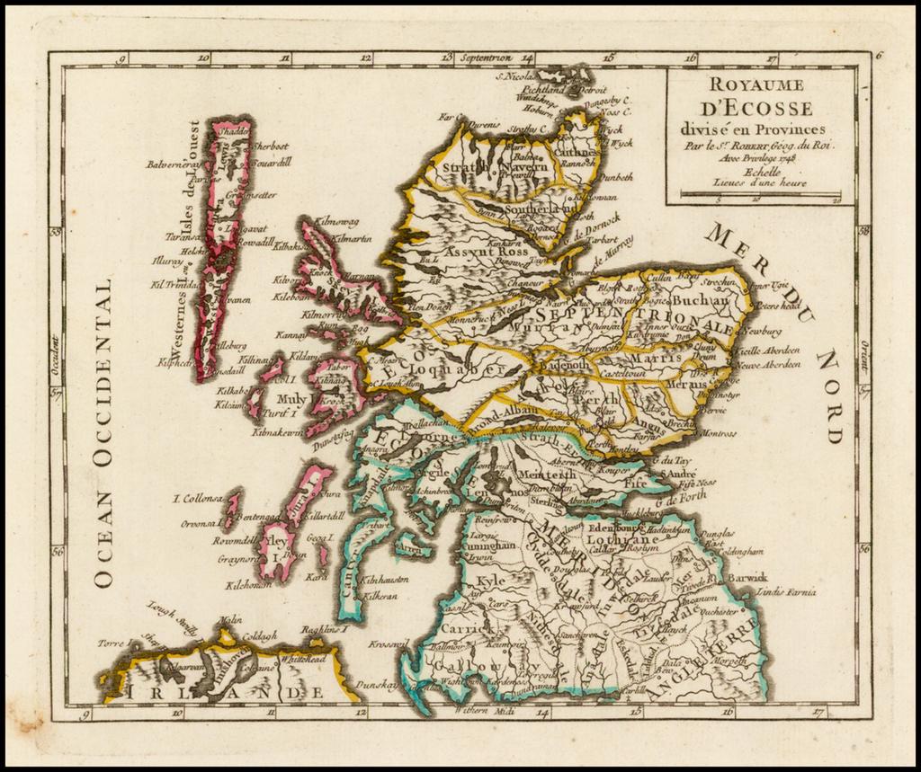 Royaume D'Ecosse divise en Provinces . . . 1749 By Gilles Robert de Vaugondy