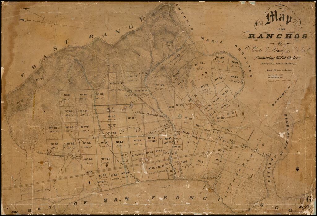 (Berkeley, Piedmont, Claremont, Emeryville, Lake Merritt, West Oakland, Alameda)  Map of the Ranchos of Vicente & Domingo Peralta  Containing 16970.68 Acres  Surveyed by Julius Kellersberger  . . . Surveyed 1853  Partitioned 1854. By Julius Kellersberger
