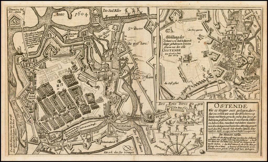 [Siege of Oostende]  Ostende Wie es itziger zeit gelegen, daeraus zu sehen wie weit die Ertzherzog hinan und hinein geruckt . . .  By Frans Hogenberg
