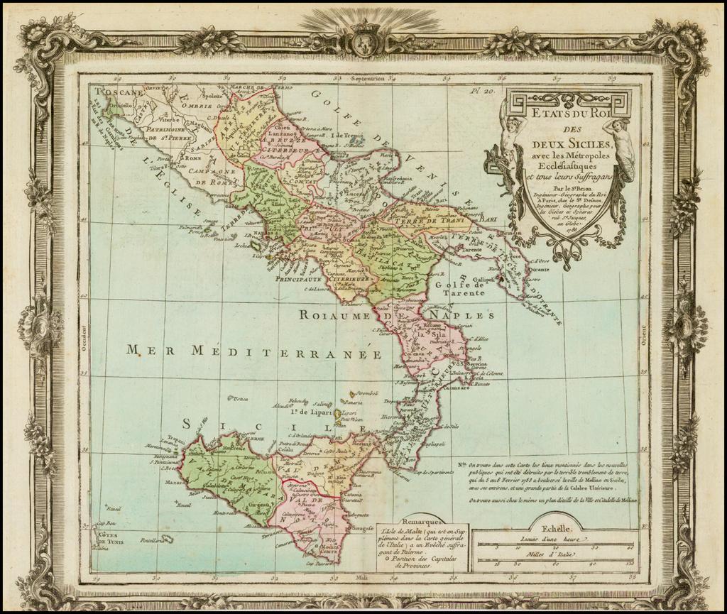 Etats Du Roi Des Deux Siciles avec les Metropoles Ecclesiastiques… 1786 By Louis Brion de la Tour