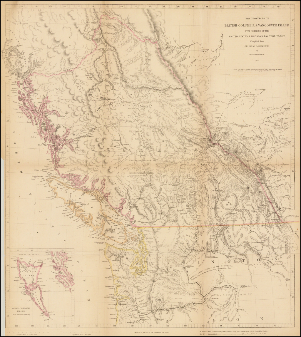 The Provinces of British Columbia & Vancouver Island with Portions of the United States & Hudson's Bay Territories, Compiled from Original Documents by John Arrowsmith,  1859. By John Arrowsmith