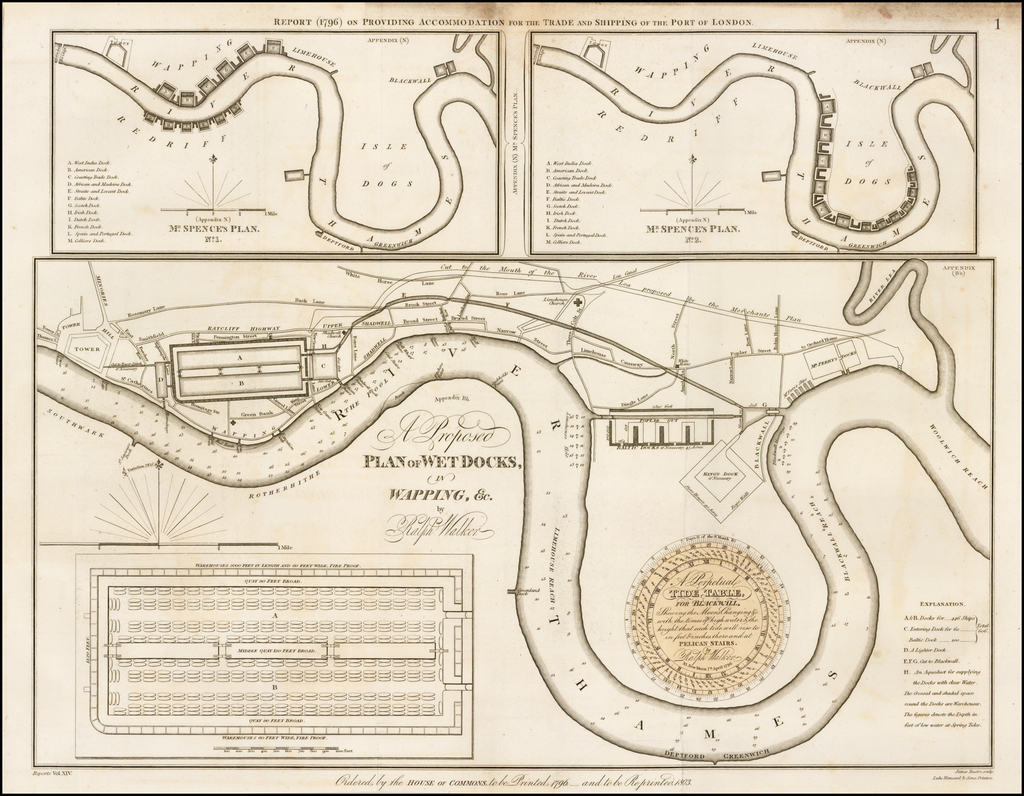 A Proposed Plan of Wet Docks, in Wapping, &c., by Ralph Walker. By Parliamentary Papers
