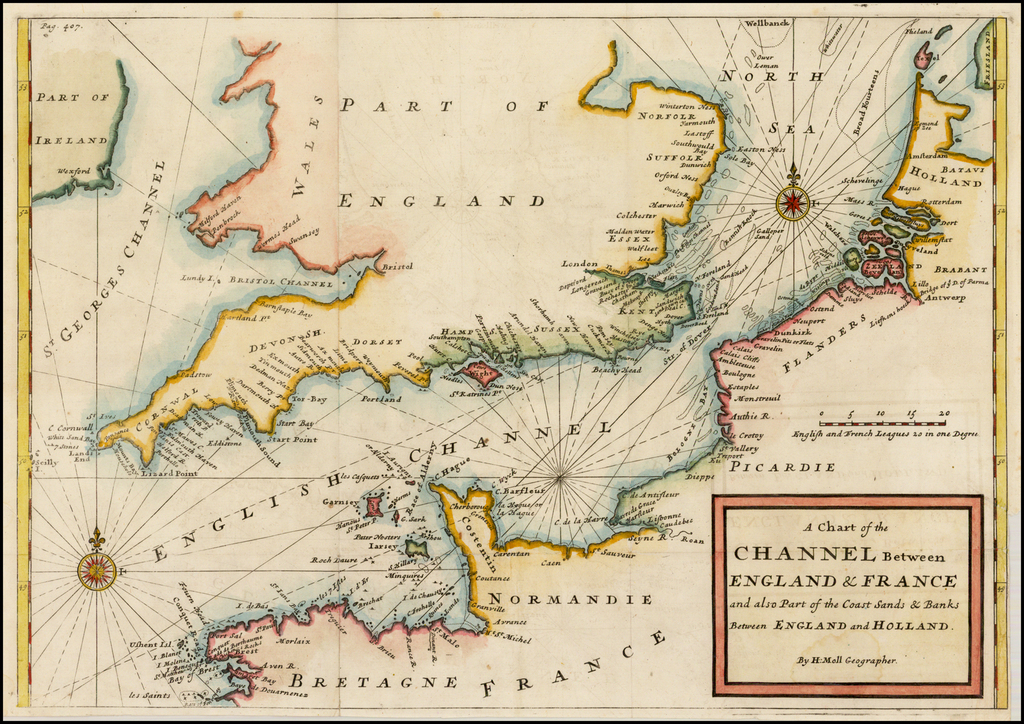 Map Of England To France.A Chart Of The Channel Between England France And Also Part Of The