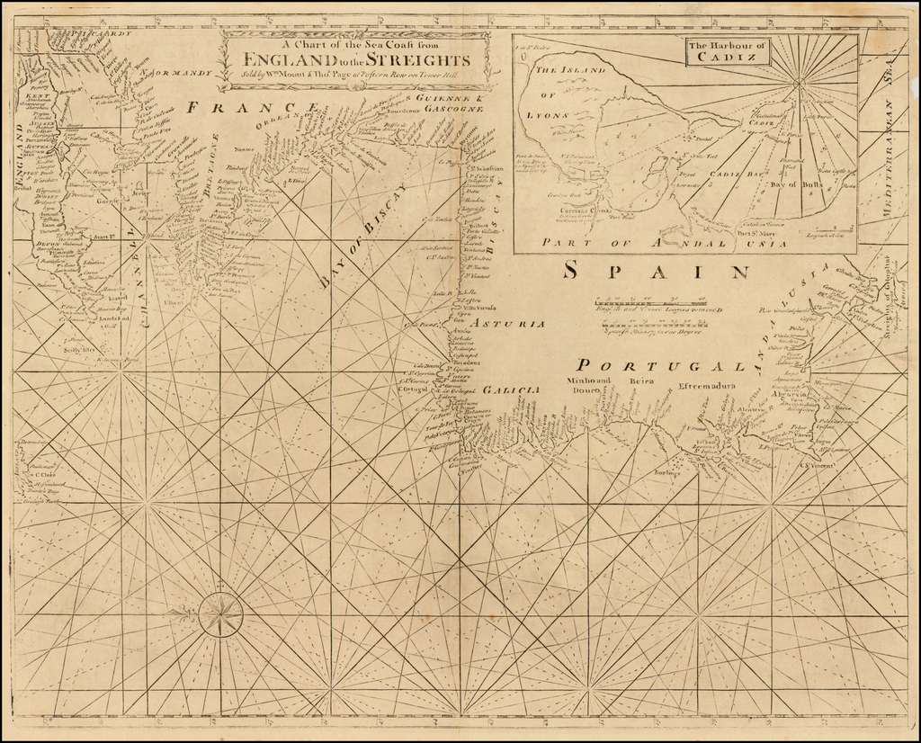 A Chart of the Sea Coast from England to the Streights (Cadiz inset) By Mount & Page