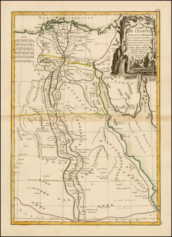 Carte De L'Egypte Ancienne et Moderne . . . . 1762 By Jean Lattre