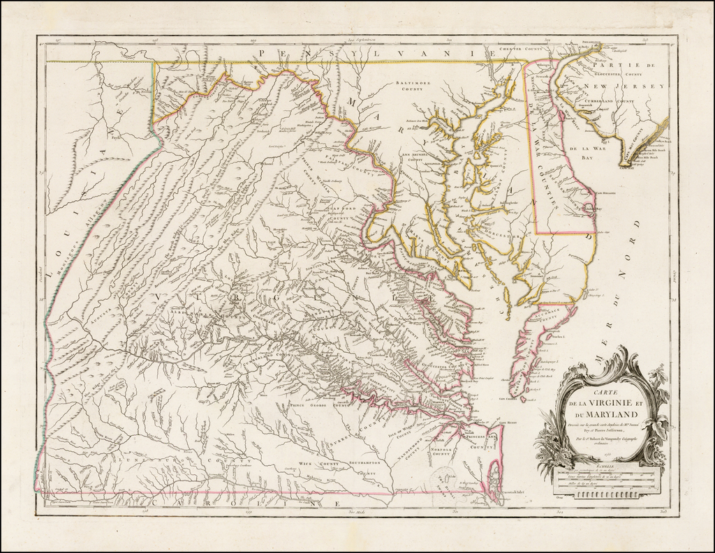 Carte De La Virginie Et Du Maryland Dressee sur la grande carte Angloise de Mrs. Josue Fry et Pierre Jefferson . . . 1755    By Gilles Robert de Vaugondy