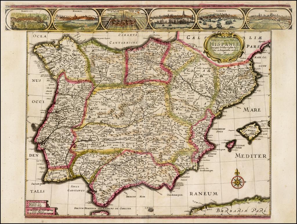 Nova et accurata Tabula Hispania Praecipuis Urbibus Vestitu Insignibus et Antiquitatibus . . .  By Cornelis II Danckerts