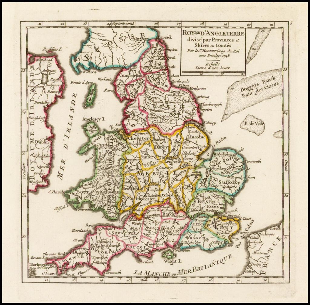 Royme. D'Angleterre divise pa Provinces et Shires ou Comtes . . . 1748 By Gilles Robert de Vaugondy