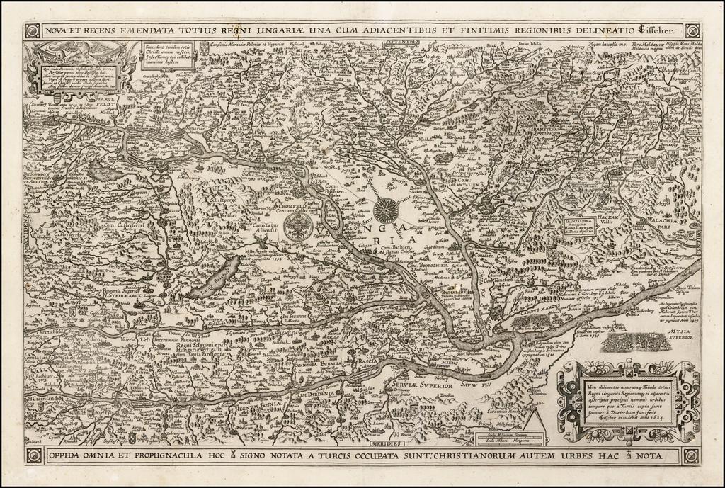Nova et Recens Emendata Totius Regni Ungariae una cum Adiacentibus et Finitimis Regionibus Delineatio CJ Visscher . . .1634 By Claes Janszoon Visscher