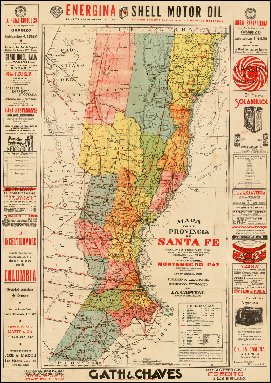 Mapa de la Provincia de Santa Fe Preparado con Documentation Oficial . . . Por La Officina Cartoraphica Onenegro Paz . . .  By Oficina Cartografica Montenegro Paz
