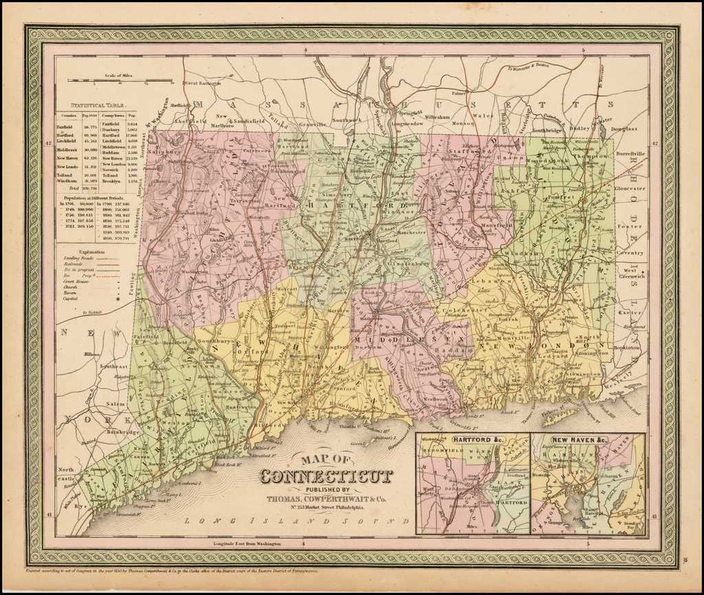 Map of Connecticut By Thomas, Cowperthwait & Co.