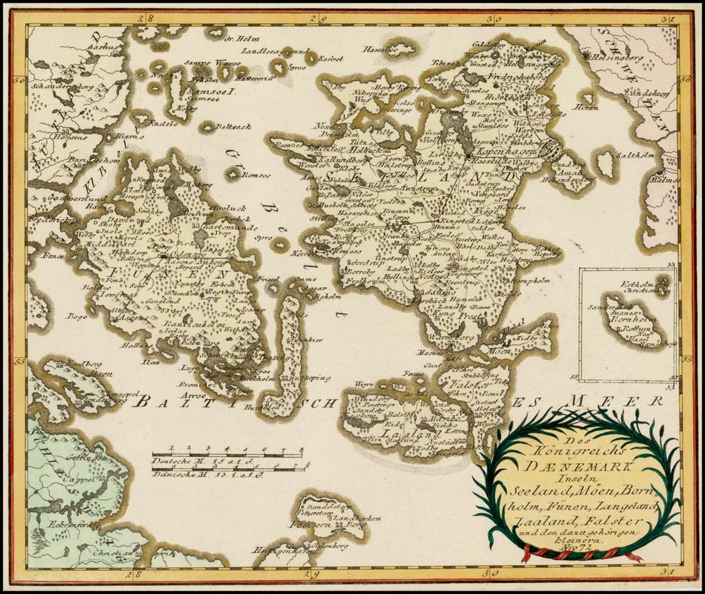 Des Konigreichs Daenemark Inseln Seeland, Moen, Bornholm, Funen, Langeland, Laaland, Falster und den dazu gehorigen kleinern . . .  By Franz Johann Joseph von Reilly