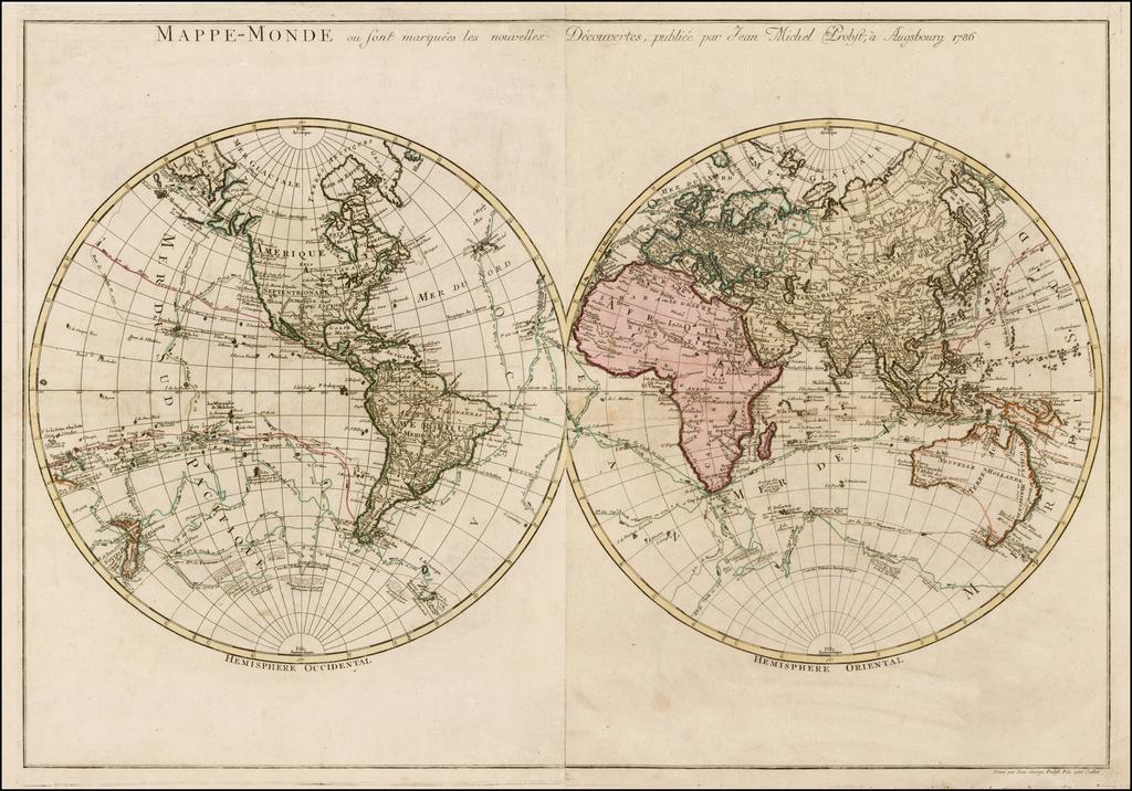 Mappe Monde ou sont marquees les nouvelles Decouvertes, publiee par Jean Michel Probst, a Augsburg 1786 By Johann Michael Probst