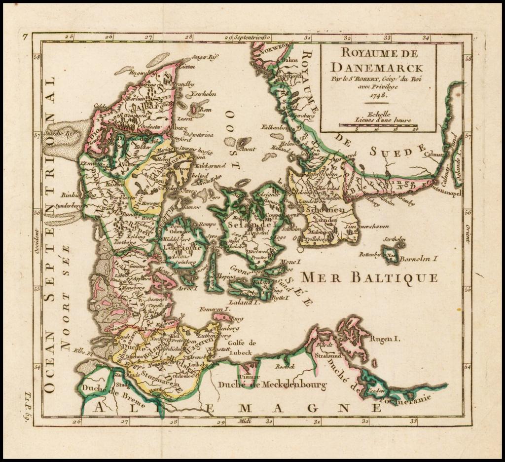 Royaume De Danemarck . . . 1748 By Gilles Robert de Vaugondy