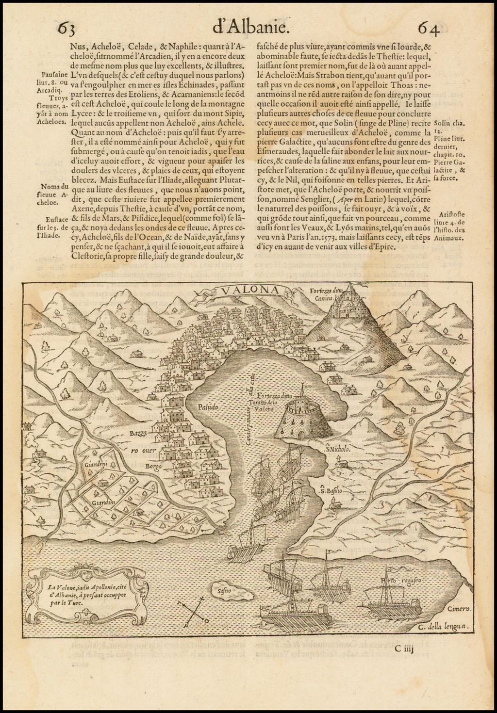 (Vlore, Albania) La Valone, iadis Apollonie, cite d'Albanie, a prefant occuppee par les Turc By Francois De Belleforest