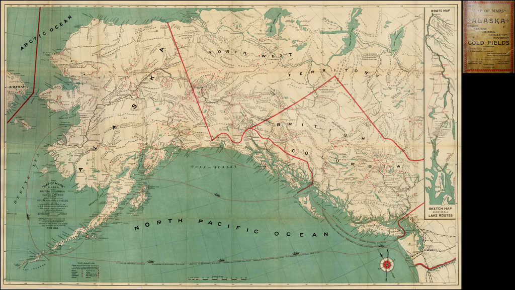 """The """"Map of Maps"""" -- Alaska and British Columbia Showing the Yukon, Cariboo Cassiar, with a Portion of the Kootenay Gold Fields . . . Feb. 1898  [with inset showing Lake Routes to Dawson] By J.J. Millroy"""