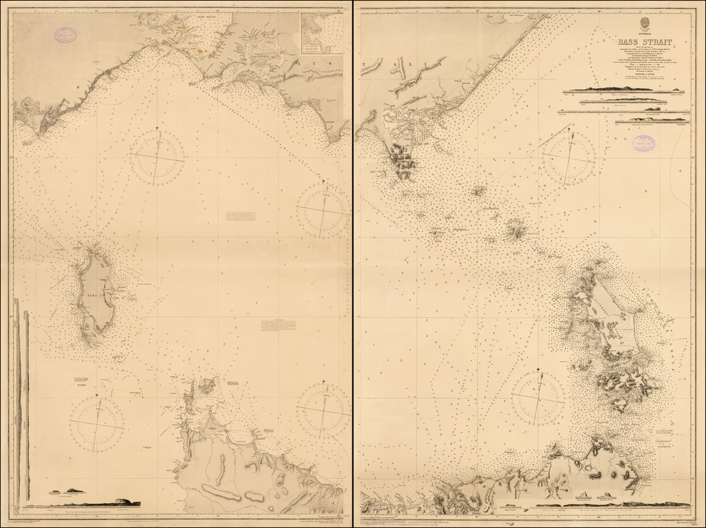 Bass Strait From the Surveys of Commander J.L. Stokes, and the Officers of H.M.S. Beagle 1839-43 With additions from the Surveys of the Australian Coast by Commanders H.L. Cox & G.B. Wilkinson R.N. 1864-67, Navg. Lieutt. H.J. Stanley R.N. 1868-73 and Commander Richard F. Hoskyn R.N. 1886-7.  By British Admiralty