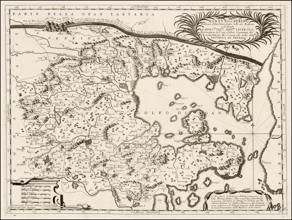 Xantung, e Peking Provincie della China, divise sue Regioni . . . By Vincenzo Maria Coronelli