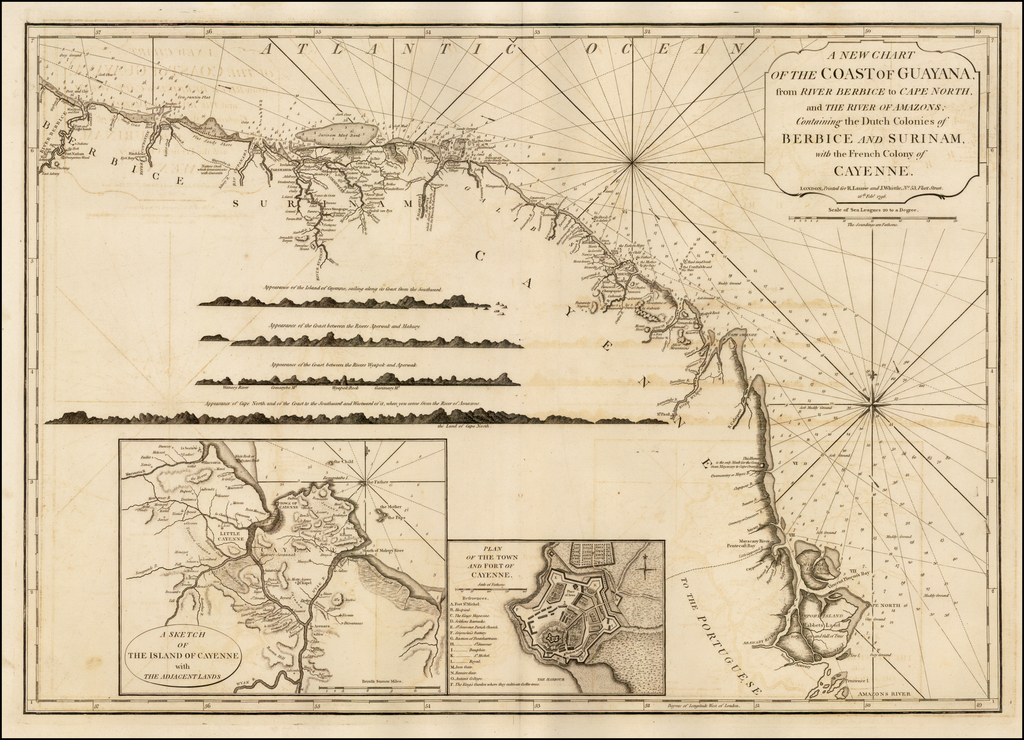 A New Chart of the Coast of Guayana, from River Berbice to Cape North and the Rivers of Amazons, Containing the Dutch Colonies Berbice and Surinam, and the French Colony of Cayenne. . . 1796 By Richard Holmes Laurie  &  James Whittle