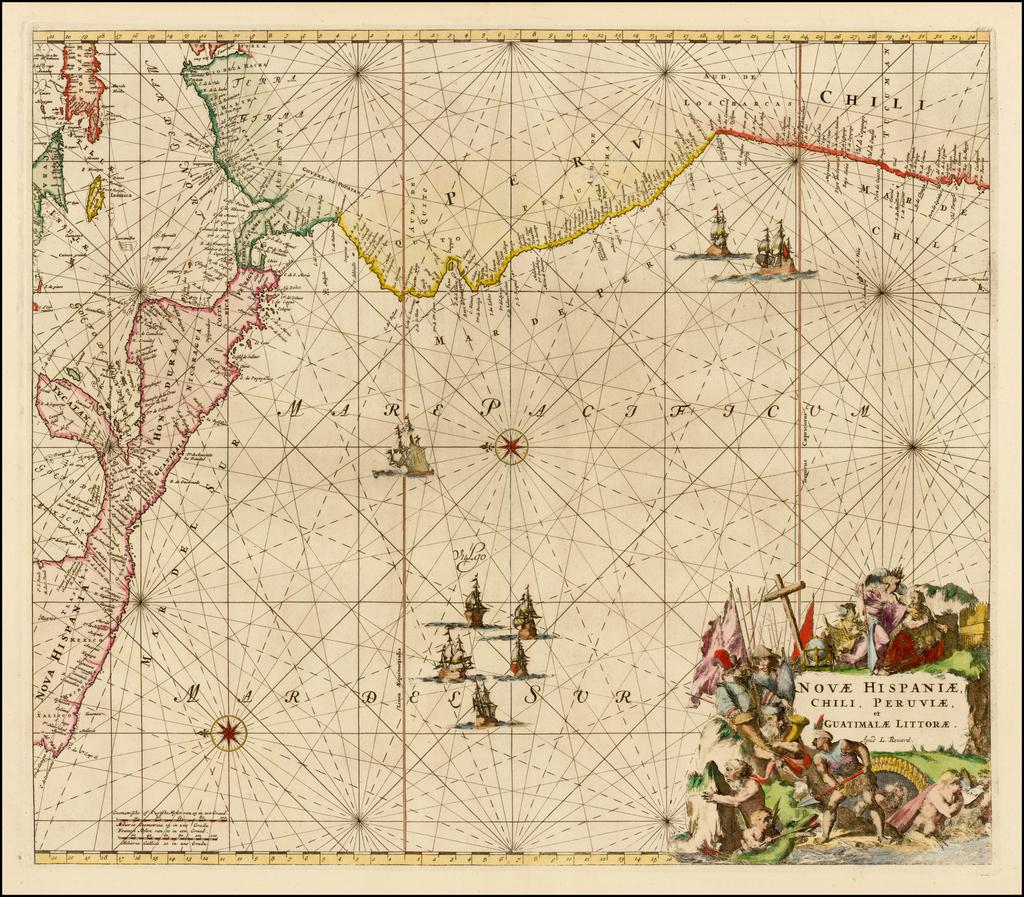 Novae Hispaniae, Chili, Peruviae, et Guatimalae Littorae Apud F. de Wit By Louis Renard