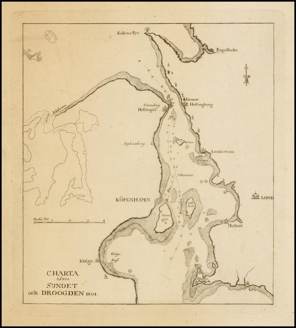 Charta ofver Sundet och Droogden 1801. By Anonymous