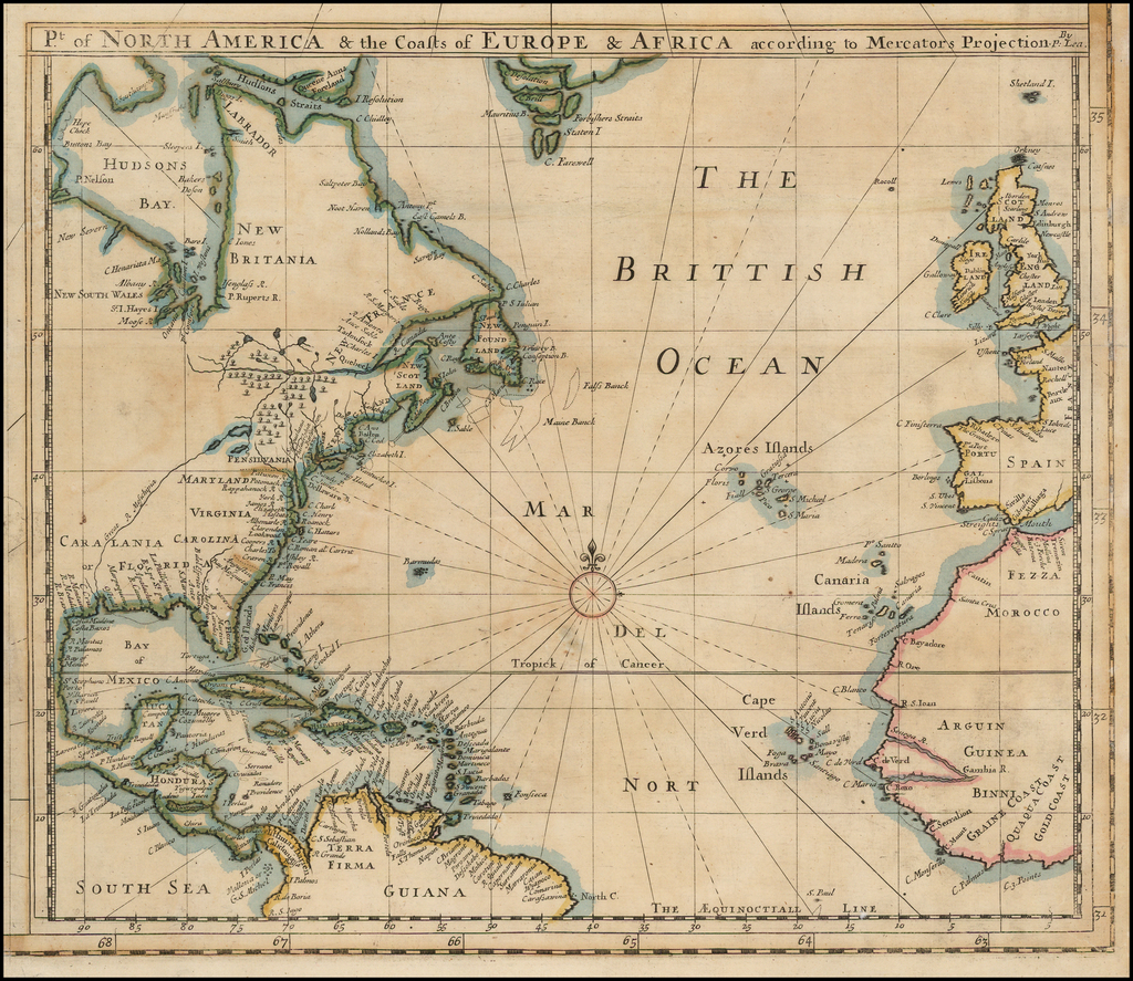 Pt. of North America & the Coasts of Europe & Africa according to Mercator's Projection.  By P. Lea.  (Shows The Caralinia Colony) By Philip Lea