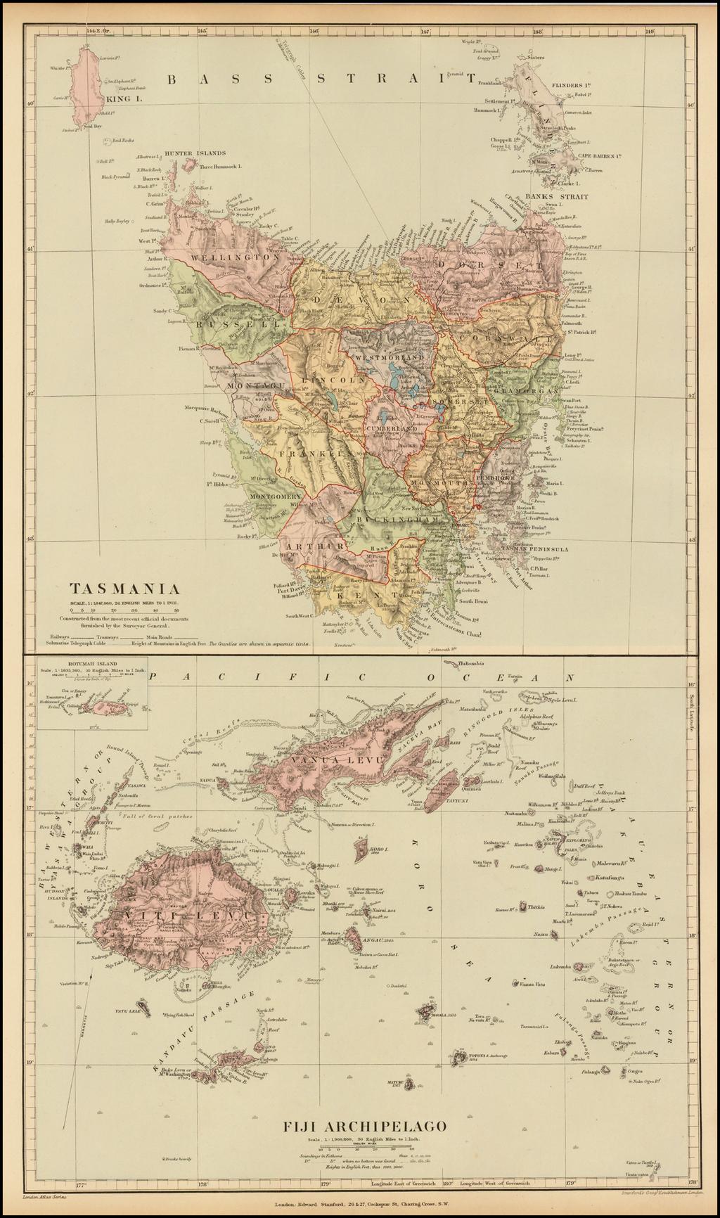 Tasmania / Fiji Archipelago By Edward Stanford
