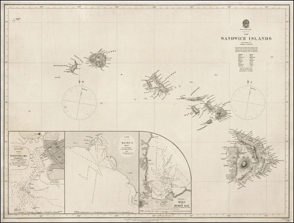 The Sandwich Islands From Various But Imperfect Sources By British Admiralty