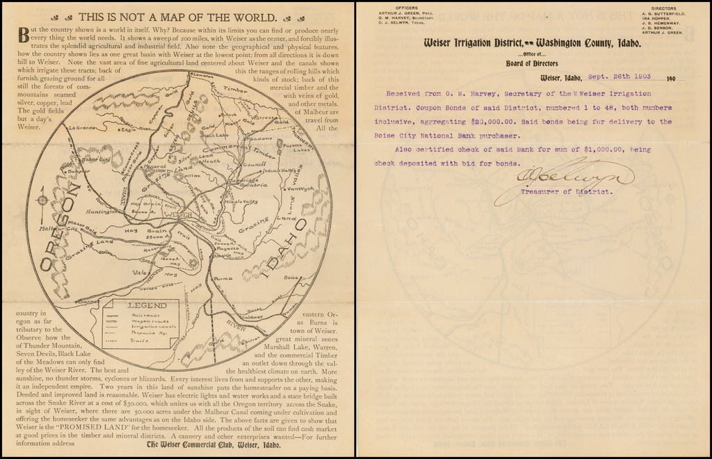[Central Idaho & Eastern Oregon Letter Sheet Map]  This Is Not A Map Of The World . . . The Weiser Commercial Club, Weiser, Idaho. By Weiser Commercial Club