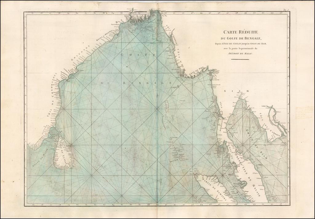 Carte Reduite du Golfe de Bengale, depuis L'Isle de Ceyland jusqu'au Golfe de Siam avec la partie Septnetrionale du Detroit de Malac By Jean-Baptiste-Nicolas-Denis d'Après de Mannevillette