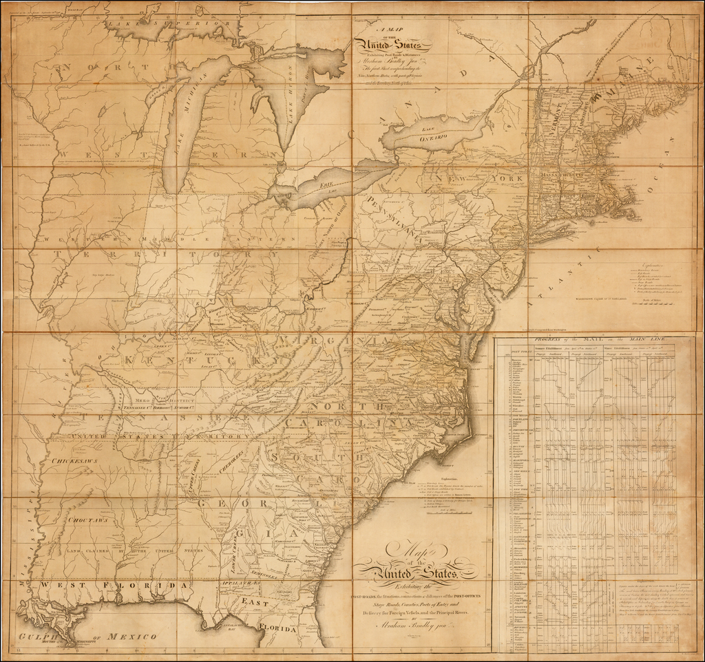 A MAP OF THE United States. Exhibiting Post Roads & Distances BY Abraham Bradley Jun. . . 1796. By Abraham Bradley