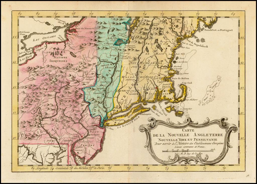 Carte De La Nouvelle Angleterre,  Nouvelle Yorck et Pensilvanie . . . By A. Krevelt