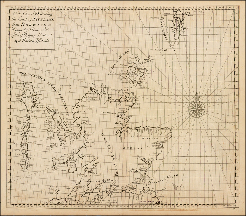 A Chart Describing the Coat of Scotland from Berwick to Dungsby Head n:th the Isles of Orkney Shetland & ye Western Islands By John Senex / Edmund Halley / Nathaniel Cutler