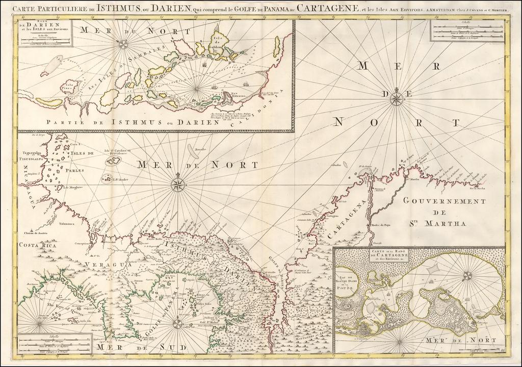 Carte Particuliere de Isthmus ou Darien qui Comprend le Golfe de Panama &c. Cartagena, et les Isles aux Environs By Johannes Covens  &  Pieter Mortier