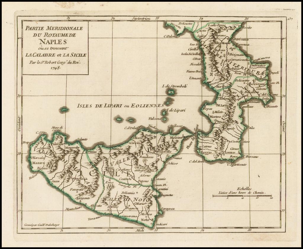 Partie Meridionale Du Royaume Naples, ou se trouvent La Calabre et La Sicile By Didier Robert de Vaugondy