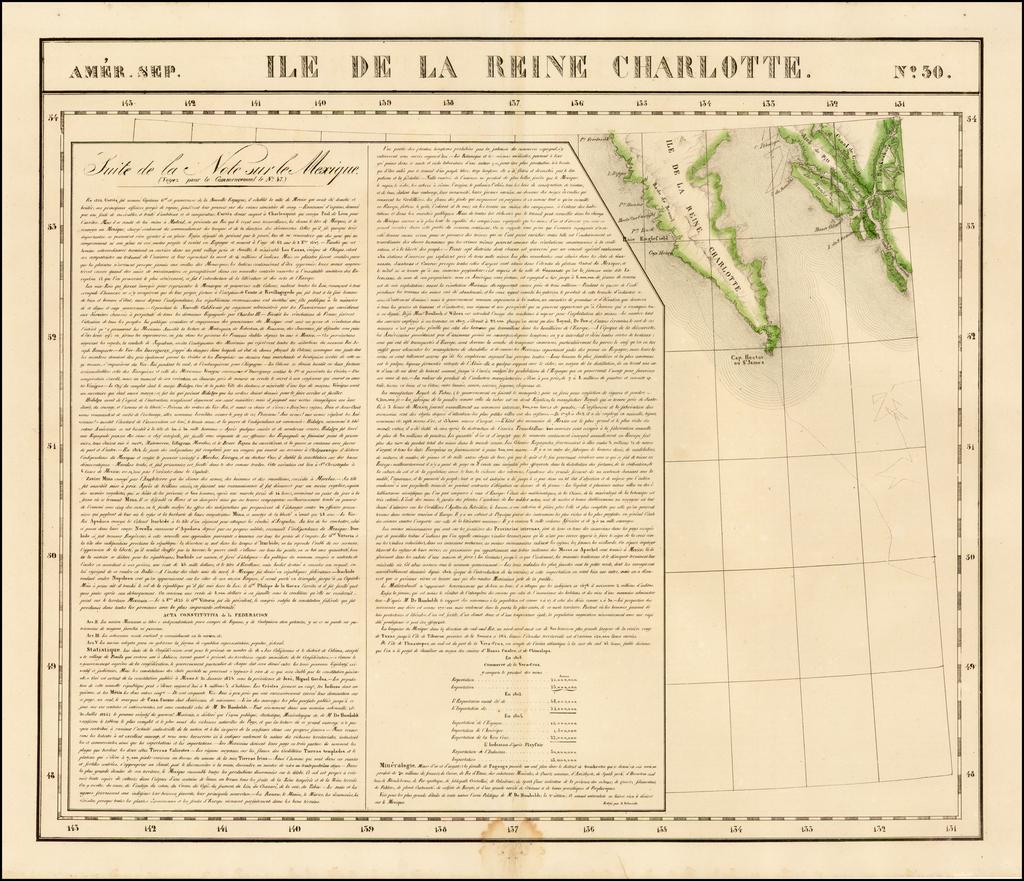 Amer. Sep. No. 30.  Ile De La Reine Charlotte By Philippe Marie Vandermaelen