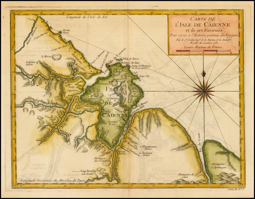 Carte De L'Isle De Caienne et de ses Environs . . . 1753 By Jacques Nicolas Bellin