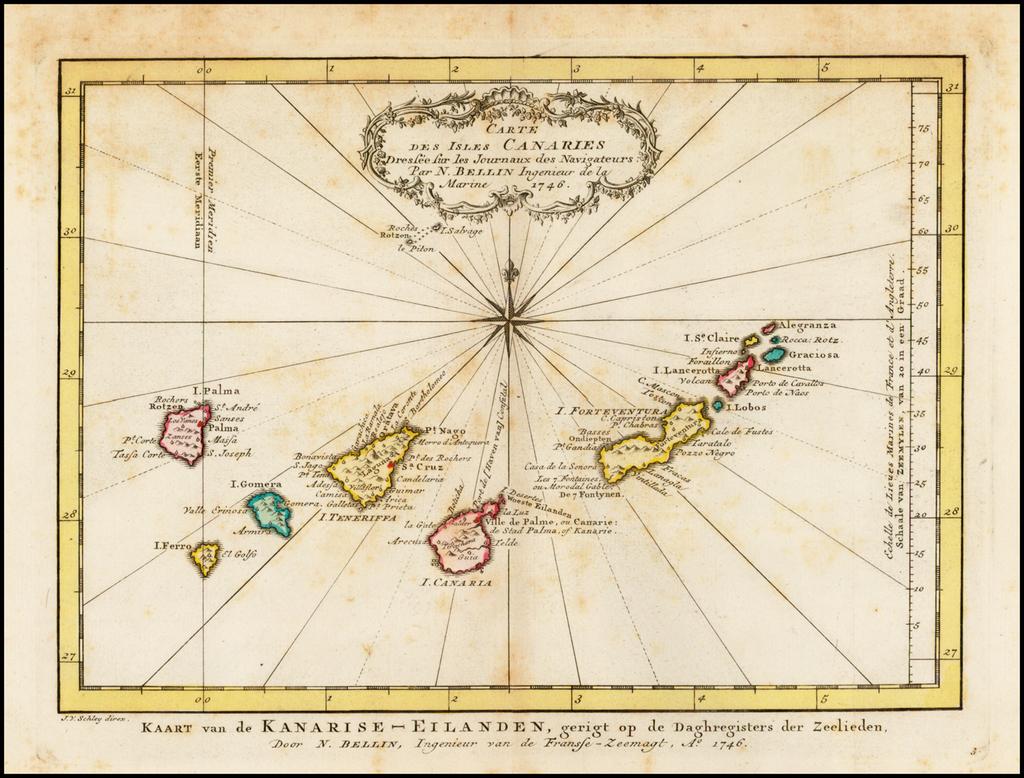 Carte Des Isles Canaries Dressee sur les Journaeu des Navigateurs . . . 1746 By A. Krevelt