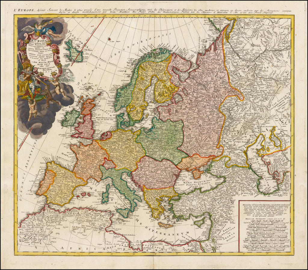 Europa Secundum legitimas Projectionis Stereographicae . . . 1743 . . .  By Johann Matthaus Haas