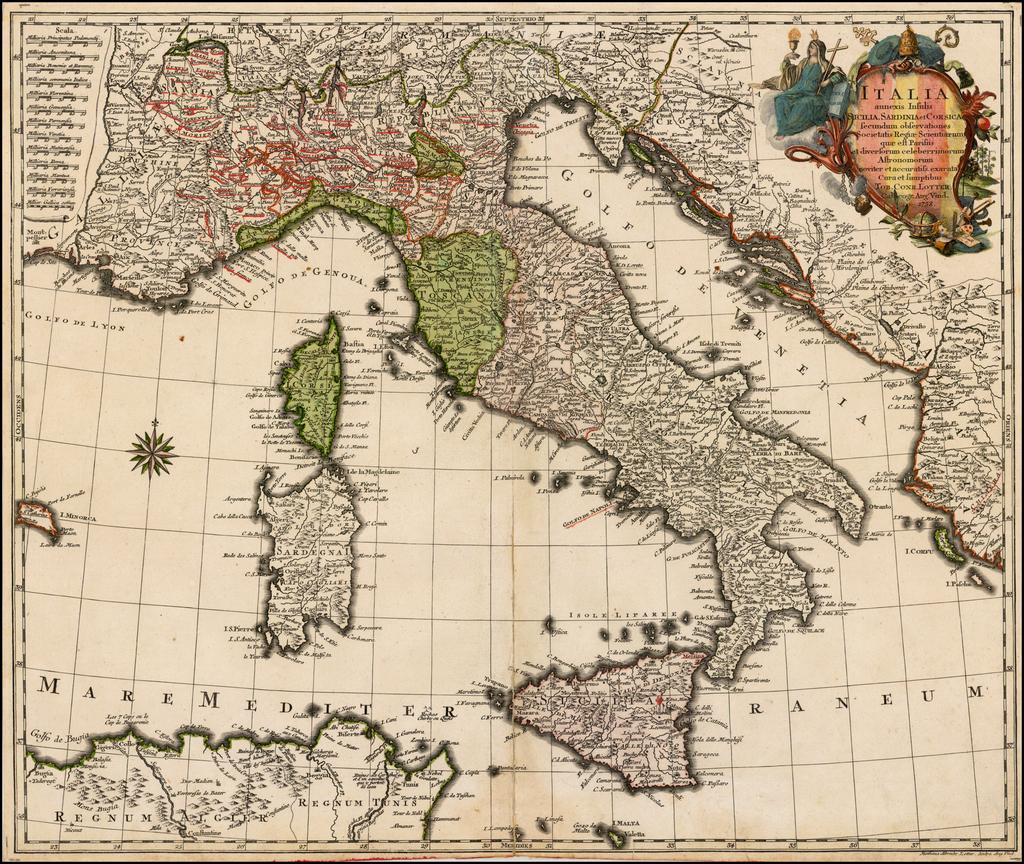Italia annexis Insulis Sicilia, Sardinia et Corsica secundum observationes Societais Regiae Scientiarum quae est Parrisiis et diversorum celebrrimorum Astronomorum . . . 1758 By Tobias Conrad Lotter