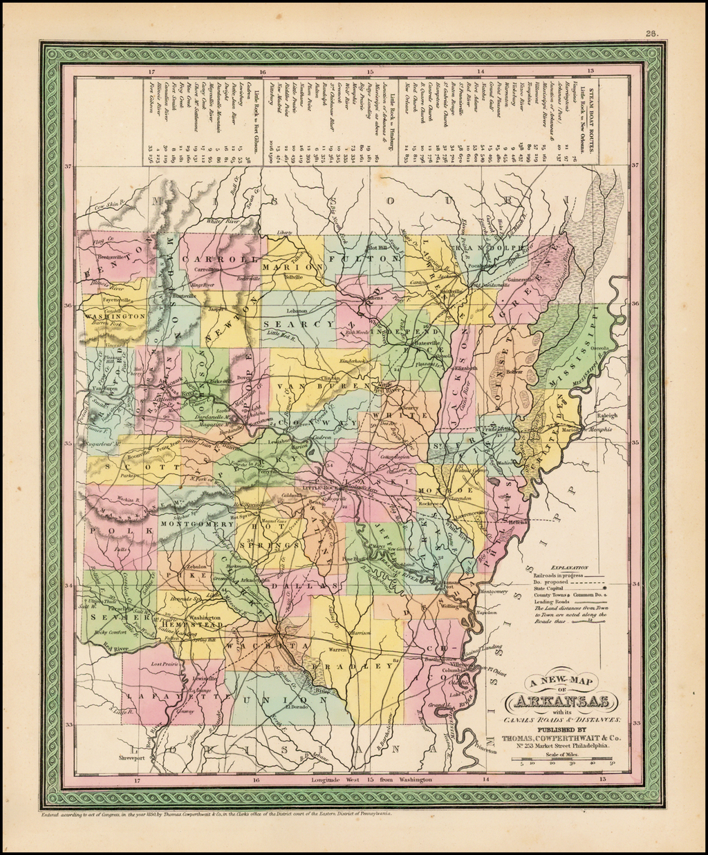 A New Map of Arkansas with its Canals Roads & Distances . . .   By Thomas, Cowperthwait & Co.