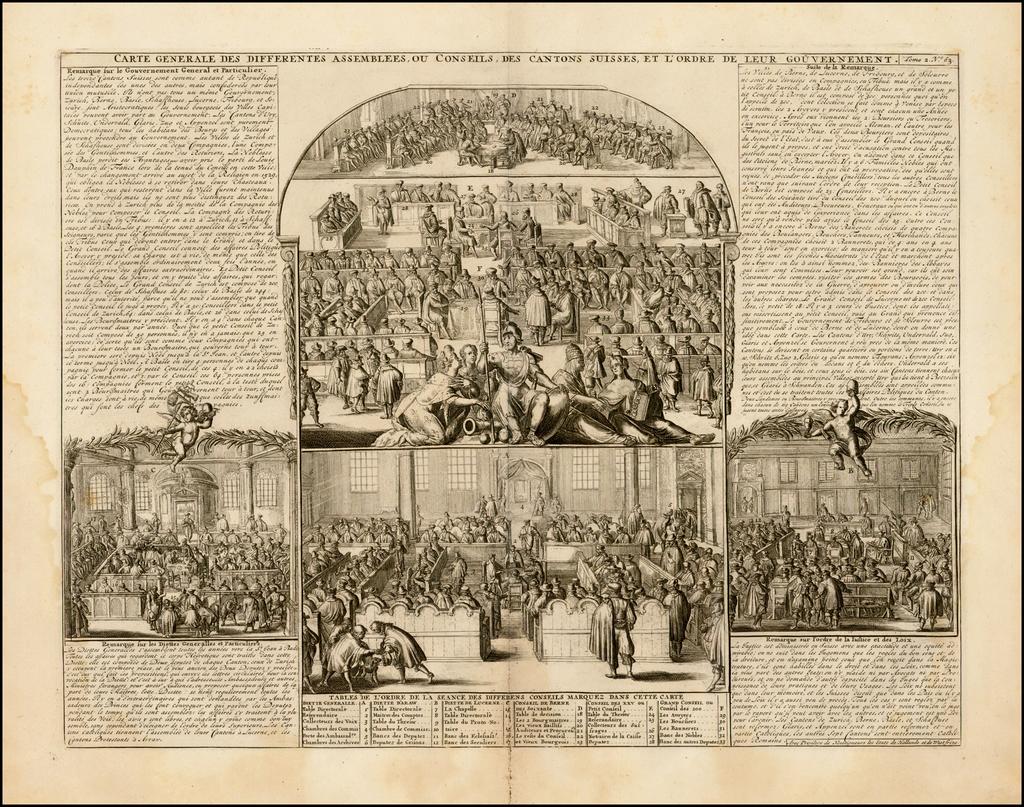 Carte Generale Des Differentes Assembles ou Conseils, Des Cantons Suisse, Et L'Order De Leur Gouvernement By Henri Chatelain