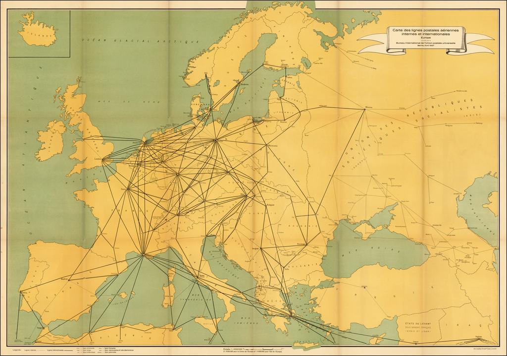 Carte Europe Routes.Europe Air Mail Routes Carte Des Lignes Postales Aeriennes